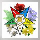 Poster floral del emblema de OES