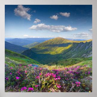Poster floral del paisaje de la montaña
