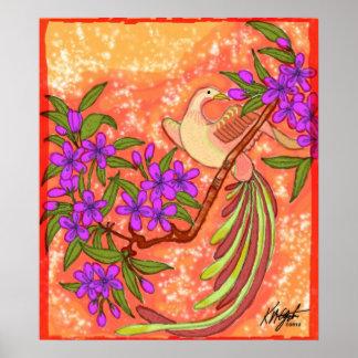 Poster floral del pájaro