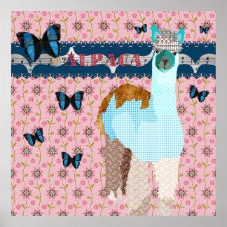 Poster floral del rosa de las mariposas de Boho de