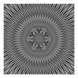 Poster  Floral Motif in Monochrome