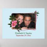 Poster floral subió de la foto del boda del rosa s