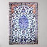 Poster floral turco de las tejas