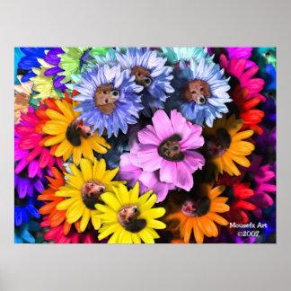 Poster floreciente de los beagles
