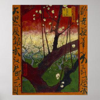Poster floreciente del árbol de ciruelo póster