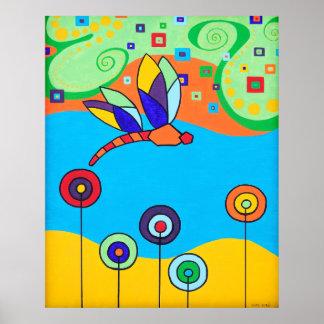 Poster Flores de la libélula y del Lollipop
