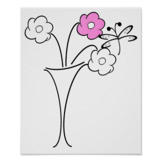 Poster Flower and Butterfly Modern Design