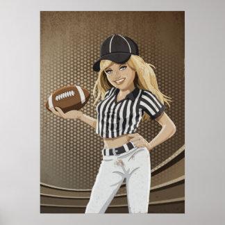 Poster Football Referee Girl Grunge