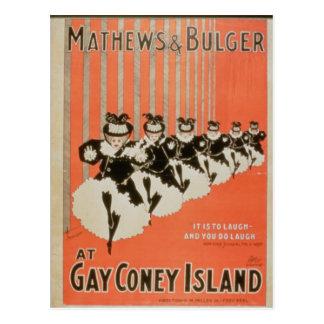 Poster for 'Mathews & Bulger' at Gay Coney Island Postcard