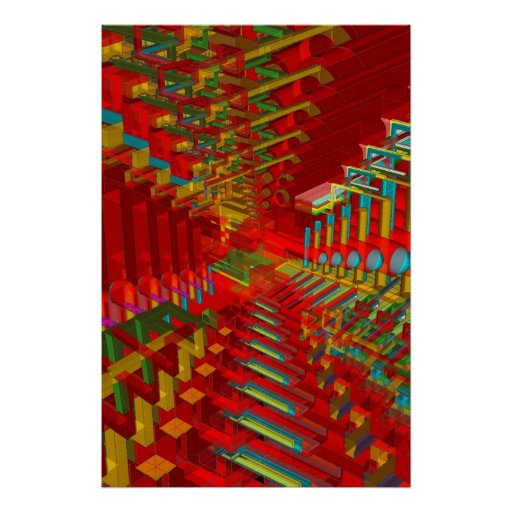 Poster: Formas abstractas 3D Póster
