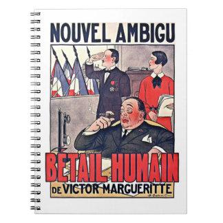 Poster francés 1920 del teatro libros de apuntes con espiral