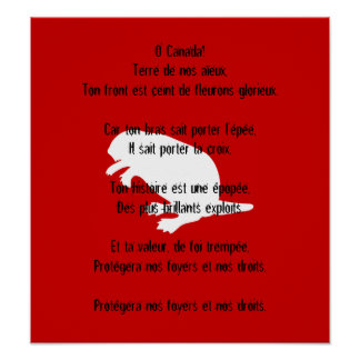 Poster francés blanco del himno del castor del día póster