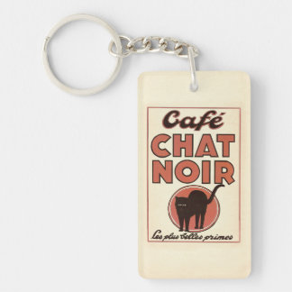 """Poster francés """"charla del vintage de Café noir """" Llavero Rectangular Acrílico A Doble Cara"""