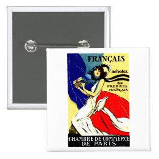 Poster francés de 1920 productos de la compra pin cuadrada 5 cm
