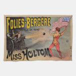 Poster francés del acto secundario de circo del vi toallas de cocina
