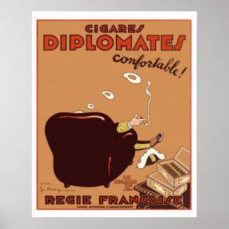 Poster francés del cigarro de los Diplomates del