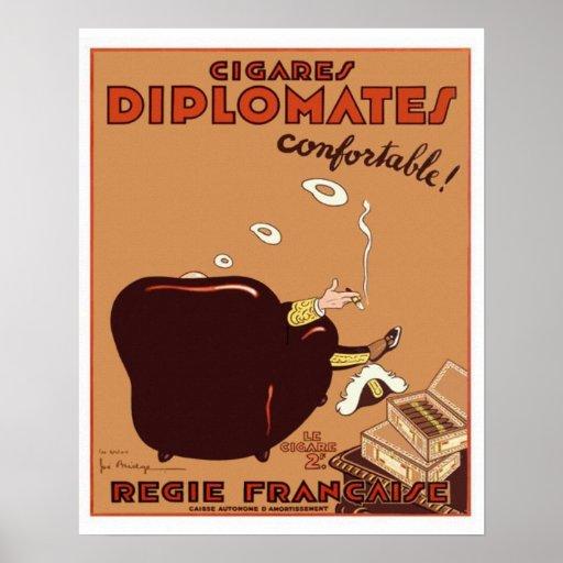 Poster francés del cigarro de los Diplomates del v