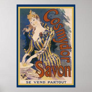 Poster francés del jabón de Nouveau del arte