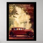 Poster francés del vintage de los años 20 del coch