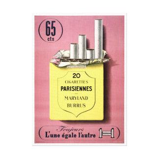 Poster francés del vintage de los cigarrillos lona estirada galerías