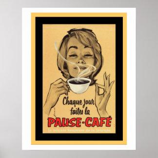 Poster francés del vintage para el café de la