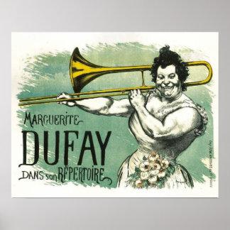 Poster francés fresco del vintage con el jugador d