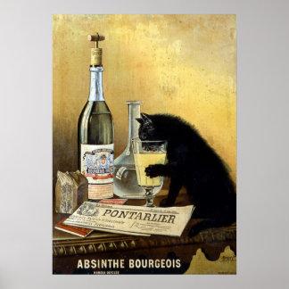 """Poster francés retro """"burgués del ajenjo """""""