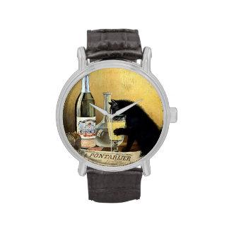 "Poster francés retro ""burgués del ajenjo "" reloj de mano"