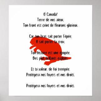 Poster francés rojo 1 del himno del castor del día