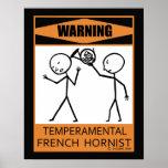Poster francés temperamental amonestador del Horni