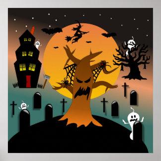 Poster frecuentado de Halloween del árbol
