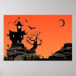Poster frecuentado de la casa de Halloween Póster