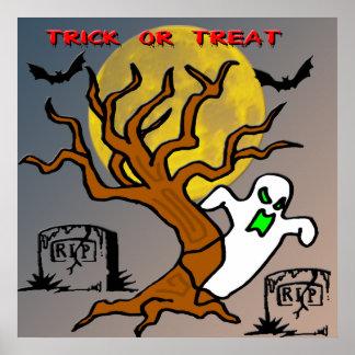 Poster frecuentado del fantasma del árbol