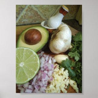 Poster fresco de los ingredientes del Guacamole