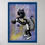 Poster fresco del gato callejero del jazz