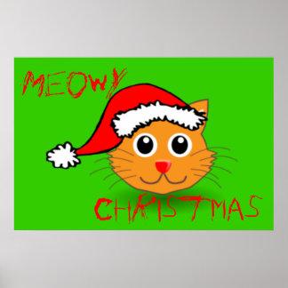 Poster fresco del navidad de Santa Meowy del gato Póster