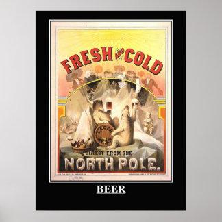 Poster fresco y frío de la cerveza del vintage