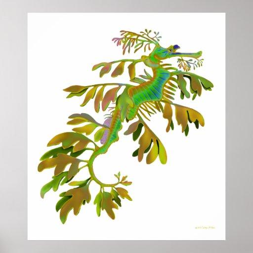 Poster frondoso coloreado fantasía del dragón del