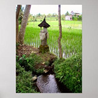 "Poster full (18"" x 24"")  Rice field Temple Bali"