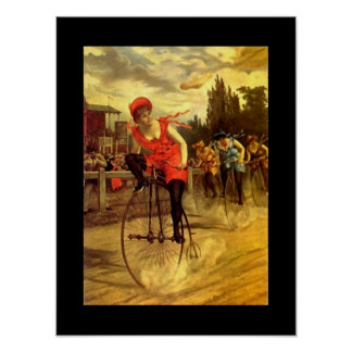 Poster Fun Antique Bike Bicycle Lady In Race