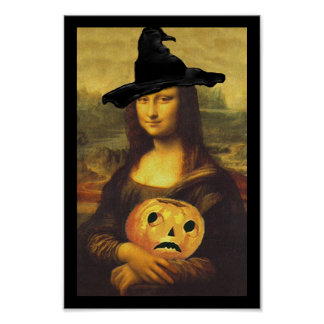 Poster Fun Renaissance Mona Lisa Halloween Witch
