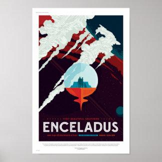 Poster futuro del viaje de la NASA - Enceladus