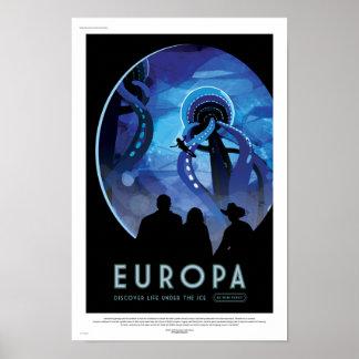Poster futuro del viaje de la NASA - Europa de la Póster