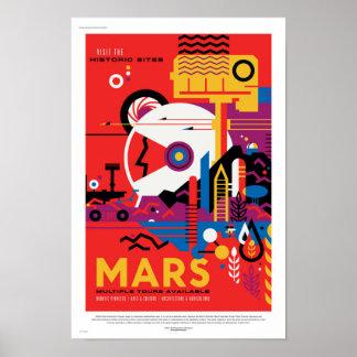 Poster futuro del viaje de la NASA - visita Marte