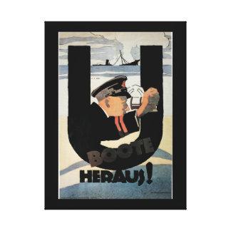 poster gemany de U Boote Heraus_Propaganda Impresión En Lienzo