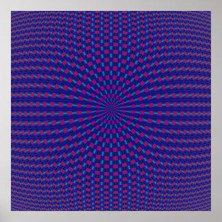 Poster geométrico azul y rojo de los círculos