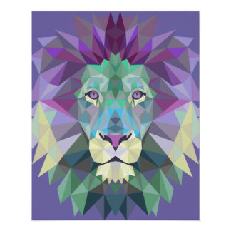 Poster geométrico del león