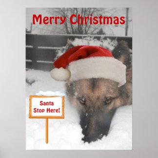 Poster German Shepherd Santa Stop Here Sign
