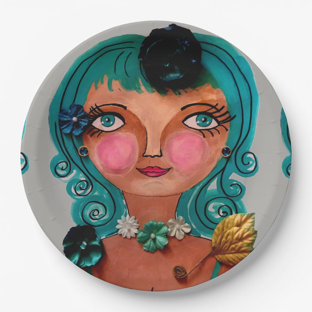 Poster Girl Design on Paper Plates