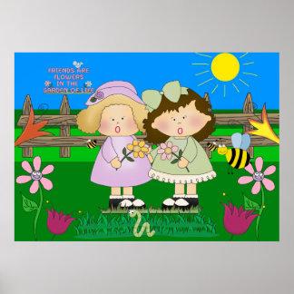 Poster Girl Friends Garden Kid's